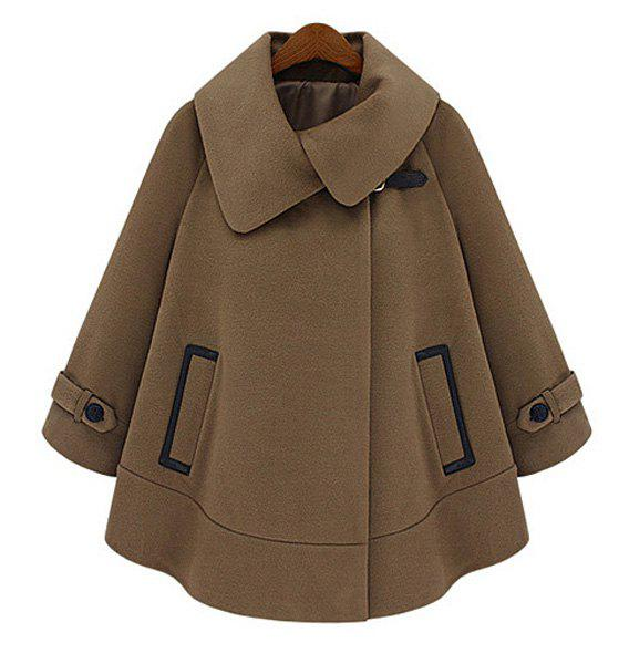 Fashionable Solid Color Turn-Down Collar Long Sleeve Worsted Dolman Coat For Women - CAMEL S