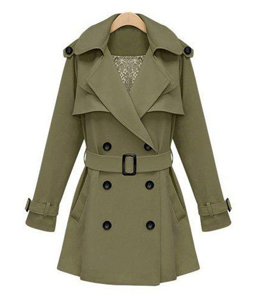 Elegant Lapel Solid Color Double Breasted Waistband Design Long Sleeve Trench Coat For Women - ARMY GREEN L