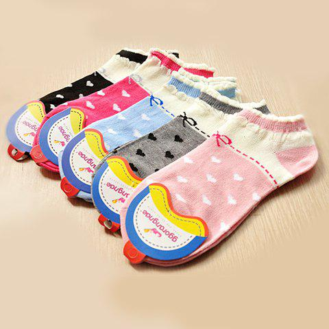 Pair of Stylish Chic Women's Dot Bowknot Pattern Socks - COLOR ASSORTED