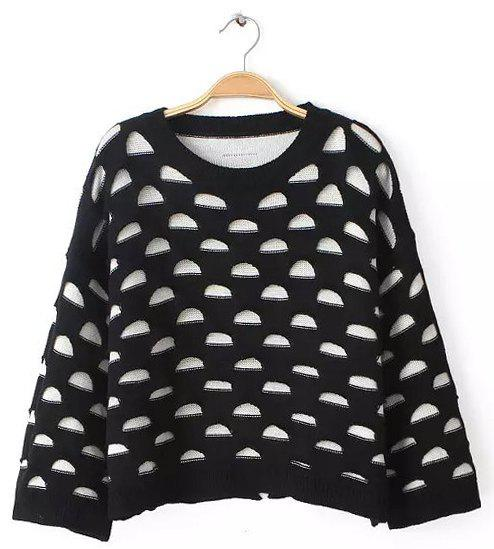 Cute Hollow Out Round Neck Long Sleeve Short Sweater For Women - BLACK ONE SIZE(FIT SIZE XS TO M)