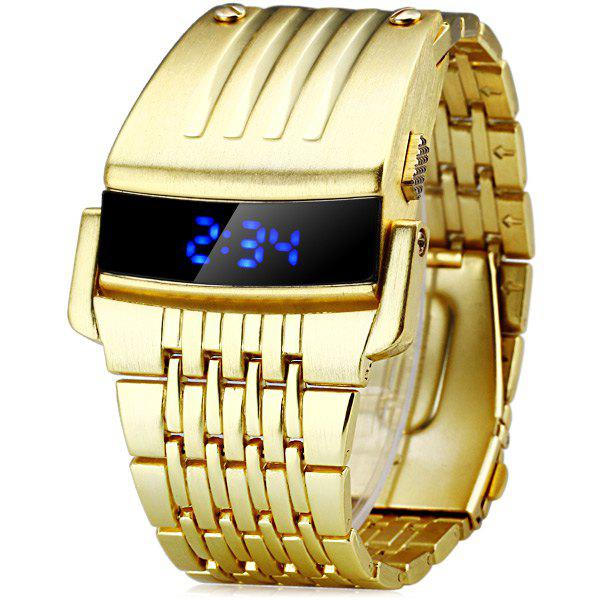 HZ467 LED Sports Watch with Digital Display Date Chorograph Steel Watchband for Men - GOLDEN