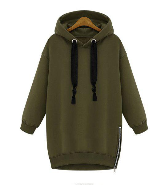 Stylish Solid Color Long Sleeve Zippered Hoodie For Women - ARMY GREEN XL