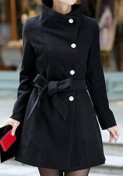 Stylish Stand Collar Solid Color Long Sleeve Coat For Women - BLACK M