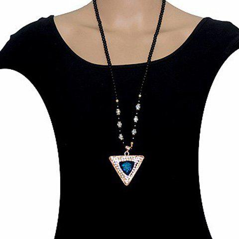 Fashion Women's Rhinestone Triangle Sweater Chain Necklace -  COLORMIX