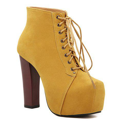 Stlylish Platform and Suede Design Women's Ankle Boots - YELLOW 38