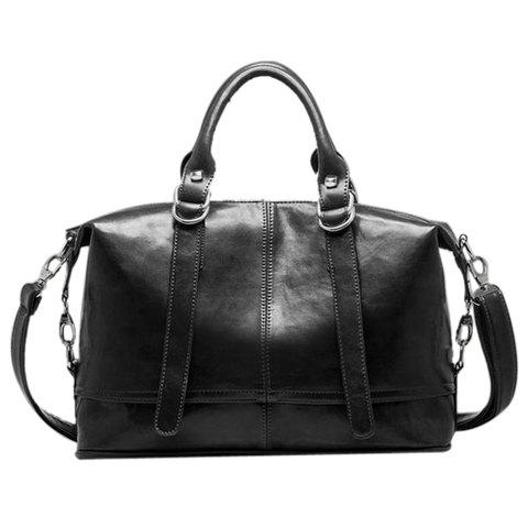 British Style Buckle and Solid Color Design Tote Bag For Women - BLACK
