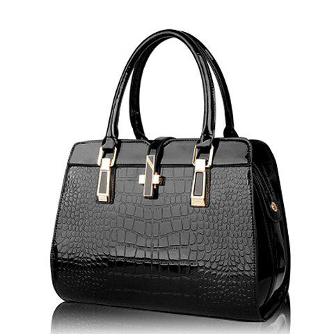 Stylish Solid Color Crocodile Printed Design Tote Bag For Women - BLACK