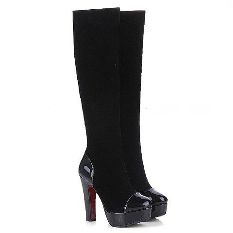 Stylish Black and Splicing Design Boots For Women