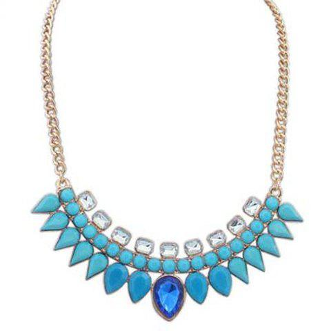 Trendy Candy Color Faux Gemstone Embellished Necklace For Women - BLUE