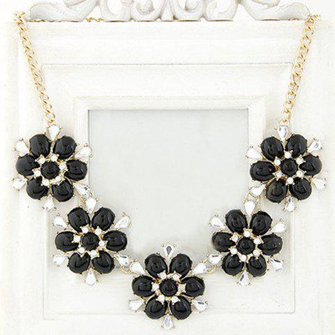 Trendy Candy Color Faux Gemstone Embellished Flower Shape Necklace For Women