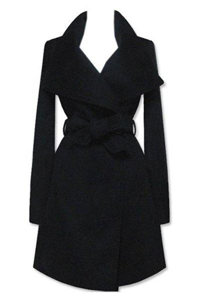 Fashionable Long Sleeve Turn-Down Collar Solid Color Coat For Women - BLACK 2XL