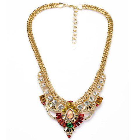 Trendy Women's Solid Color Gemstone Embellished Necklace