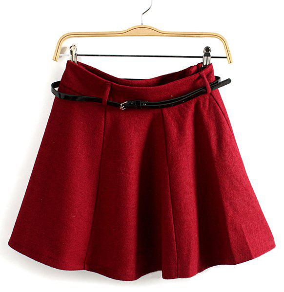 Ladylike Zipper Fly Solid Color Waistband Design A-Line Worsted Skirt For Women - CLARET L
