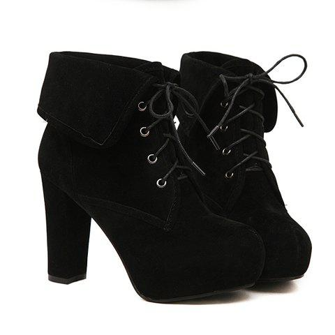 Fashion Lace-Up and Turnover Designs Women's Short Boots - BLACK 37