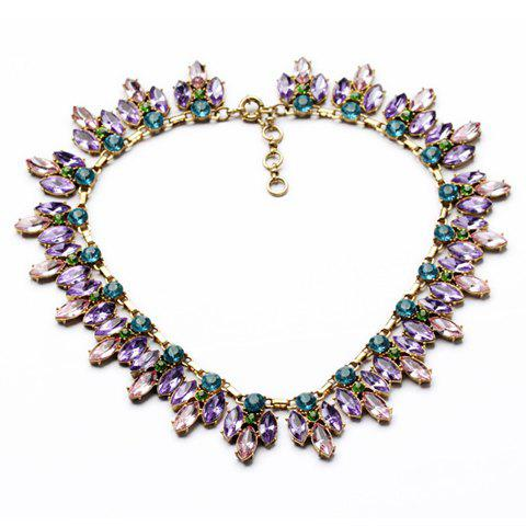 Chic Women's Colorful Crystal Embellished Necklace