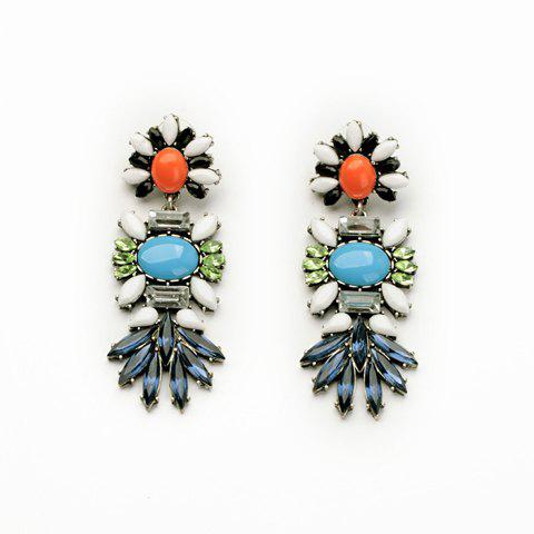 Pair of Retro Style Women's Colorful Faux Gemstone Embellished Earrings