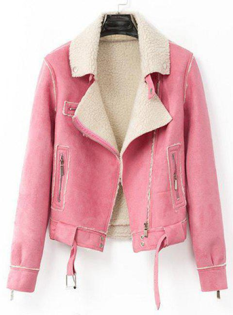 Stylish Multi-Zippers and Waistband Design Turn-Down Collar Long Sleeve Coat For Women - PINK S