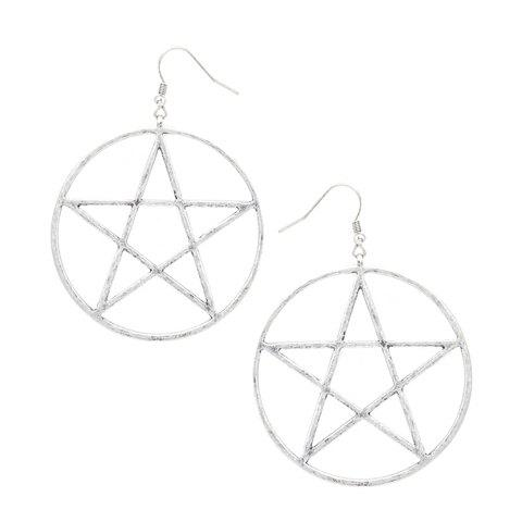 Pair of Trendy Solid Color Star Shape Women's Earrings - SILVER