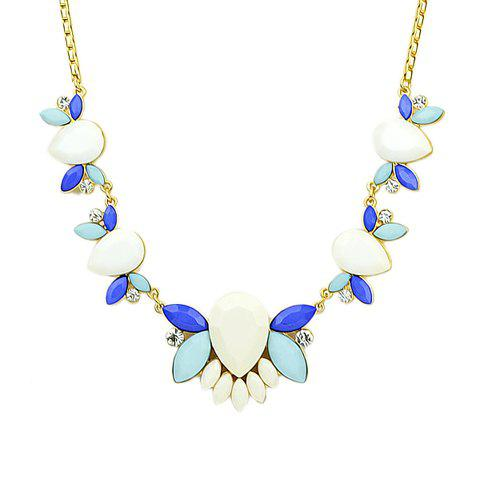 Delicate Faux Gemstone and Rhinestone Embellished Women's Necklace - AS THE PICTURE