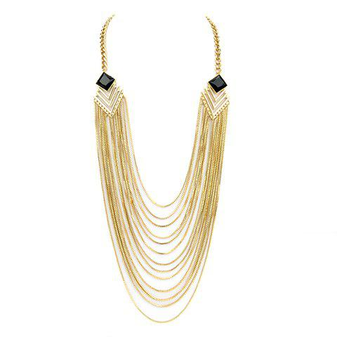 Chic Solid Color Tassel Embellished Women's Sweater Chain Collier - d/ 39;or