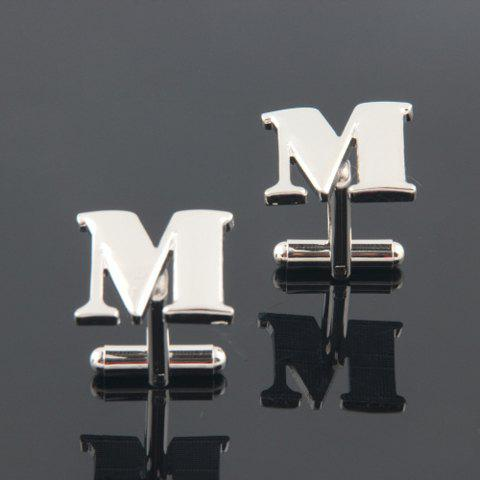 Pair of Fashion Letter M-Shaped Cufflinks For Men - SILVER