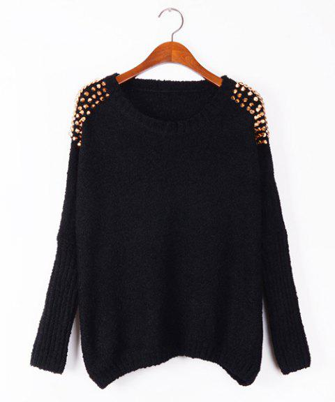 Stylish Scoop Neck Long Sleeve Rivet Shoulders Sweater For Women - BLACK ONE SIZE(FIT SIZE XS TO M)