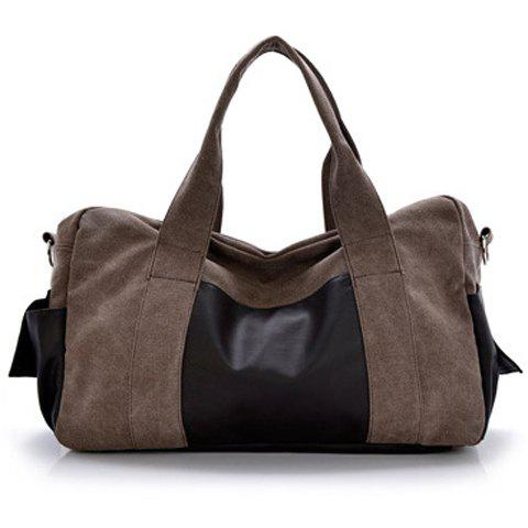 Casual Splicing and Zip Design Messenger Bag For Men - COFFEE