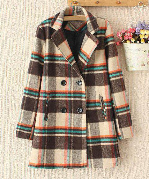 Checked Worsted Double-Breasted Lapel Neck Long Sleeve Stylish Women's Coat - COFFEE L
