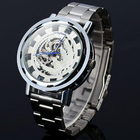 Lucky family Automatic Mechanical Watch Phoenix Pattern Hollow-out Round Dial Stainless Steel Strap for Women - SILVER