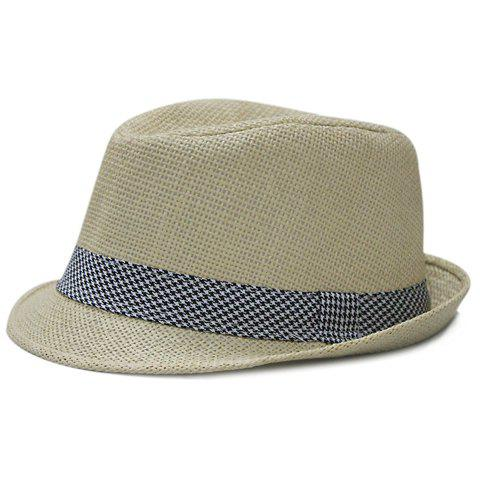 Chic Houndstooth Decorated Men's Sun Hat - COLOR ASSORTED