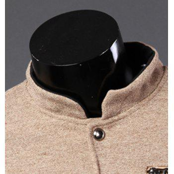 Fashion Zipper Design Color Block Splicing Stand Collar Long Sleeve Slimming Men's Cotton Jacket - KHAKI L