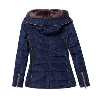 Casual Leopard Splicing Hooded Faux Fur Collar Long Sleeve Thicken Coat For Women - CADETBLUE S