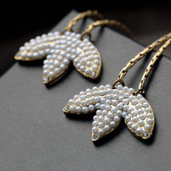 Pair of Rhinestone Embellished Lotus Leaf Shape Drop Earrings - AS THE PICTURE