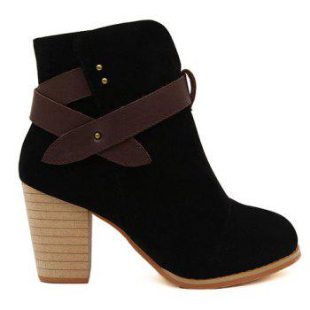 British Style Chunky Heel and Splicing Design Short Boots For Women - 35 35