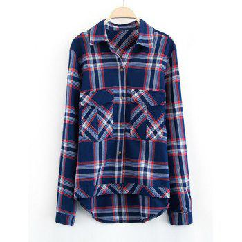 Checked Double Pockets Turn-Down Collar Long Sleeve Stylish Women's Shirt