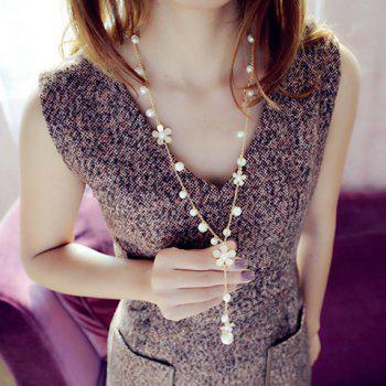 Stylish Chic Women's Beads Flower Pendant Sweater Chain Necklace -  COLORMIX