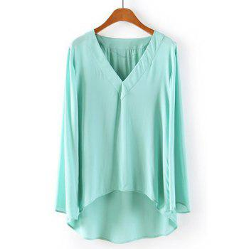 Solid Color High-low Hem V-Neck Long Sleeve Chiffon Casual Style Women's Blouse