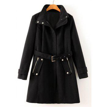Solid Color Turtle Neck Long Sleeve with Belt Worsted Fashionable Women's Coat