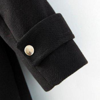 Solid Color Turtle Neck Long Sleeve with Belt Worsted Fashionable Women's Coat - BLACK M
