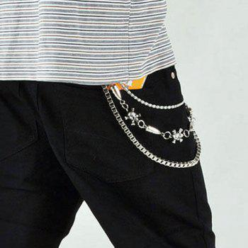 Characteristic Skull Stitching Bullet Design Trousers Chain For Men -  SILVER