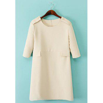 Simple Solid Color Round Collar Short Sleeve Dress For Women