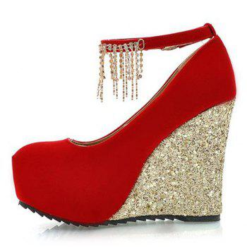 Fashionable Sequins and Tassels Design Wedge Shoes For Women - 39 39