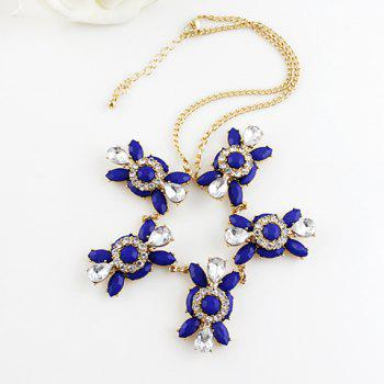 Elegant Bule Gemstone Embellished Pendant Women's Necklace