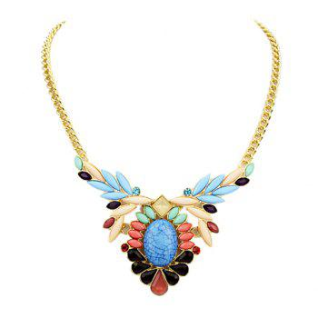 Elegant Faux Gemstone Embellished Pendant Women's Necklace