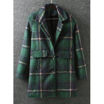 Stylish Plaid Turn-Down Collar Color Block Long Sleeve Worsted Coat For Women