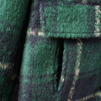 Stylish Plaid Turn-Down Collar Color Block Long Sleeve Worsted Coat For Women - GREEN L