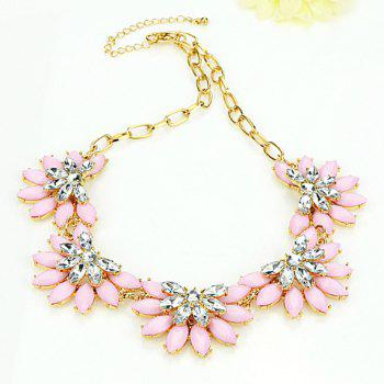 Sweet Cute Women's Pink Rhinestone Floral Pendant Necklace - AS THE PICTURE