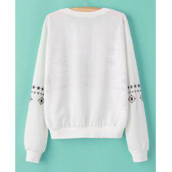 Embroidery Pattern Scoop Collar Long Sleeve Casual Style Women's Sweatshirt - WHITE S