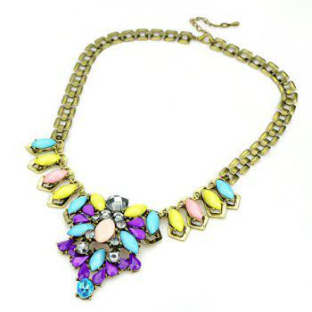 Retro Style Colorful Gemstone Embellished Pendant Women's Necklace
