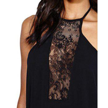 Alluring Halterneck Backless Sleeveless Lace Splicing Black Dress For Women - M M